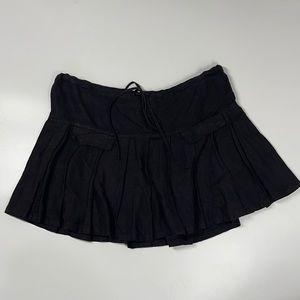 Juicy Couture Black 100% Linen Mini Skirt Drawstring Waist Faux Pockets 25